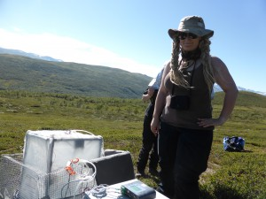Me during the CO2 measurement in the heath. Photo: Diana Eckert.